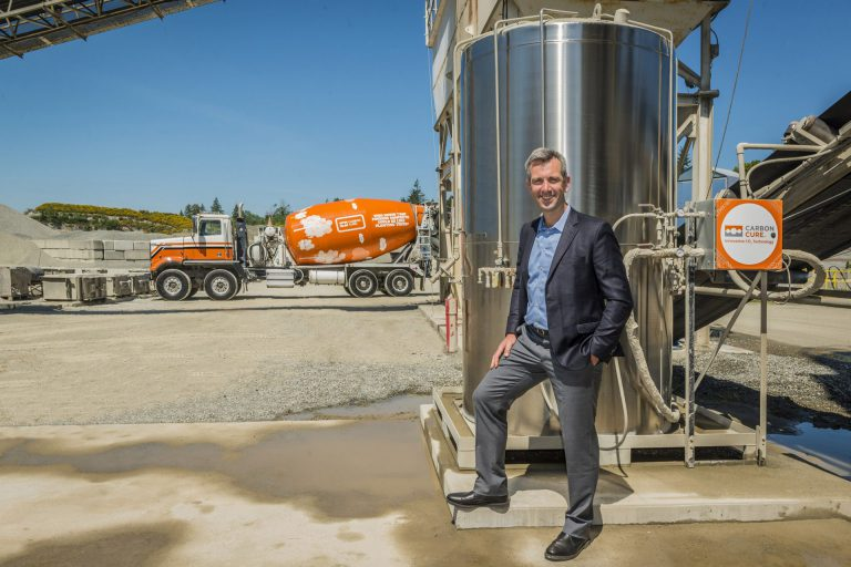CEO Rob Niven with CarbonCure Truck and Valve Box