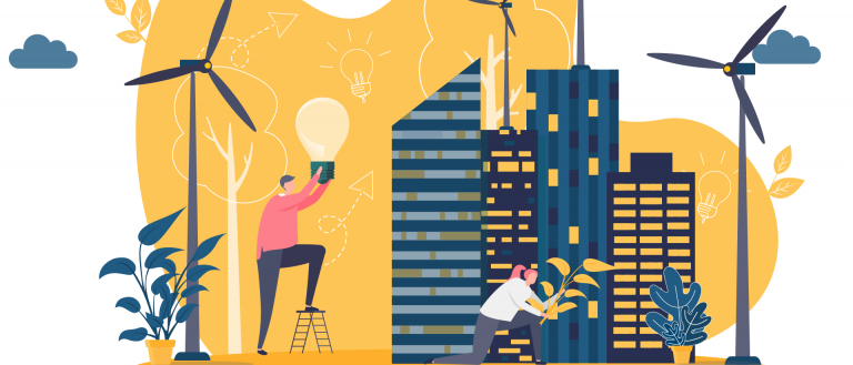 illustration smart city concept buildings with wind turbines and plants and man holding lightbulb