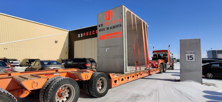 S3 precast concrete block on trailer