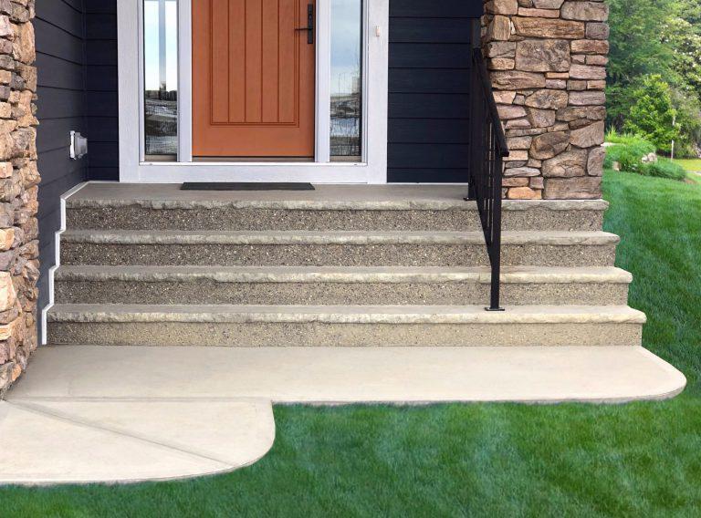 precast concrete front steps of house