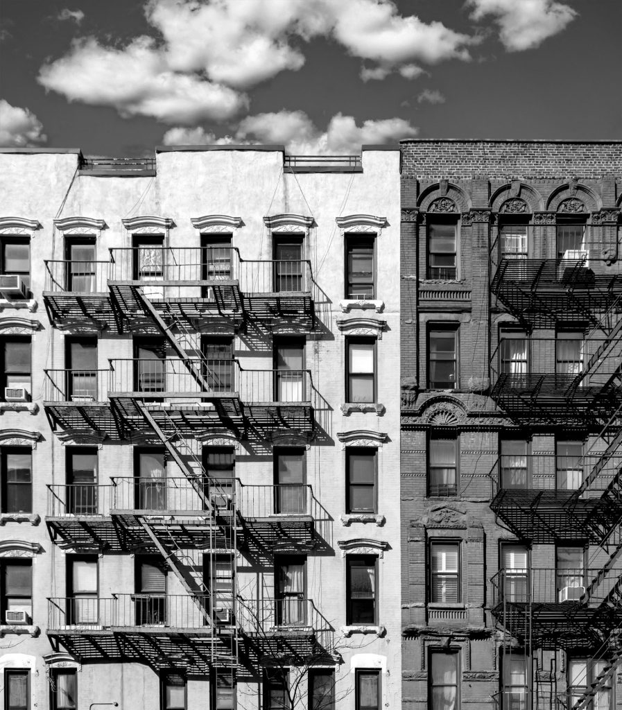 black and white old apartment buildings